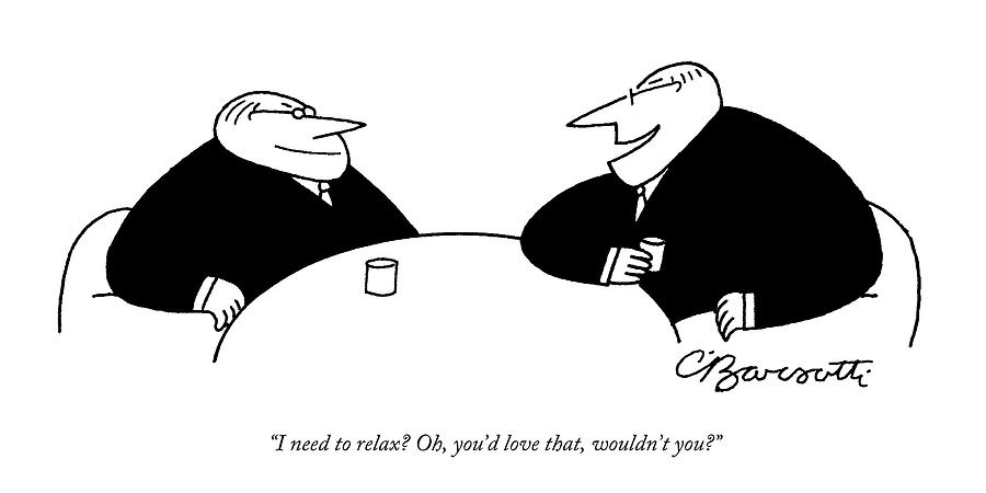 Two Businessmen Sit And Speak At A Table Digibuy Drawing by Charles Barsotti