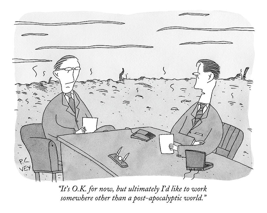 Two Businessmen Talk At A Desk Scorched Earth Drawing by Peter C. Vey