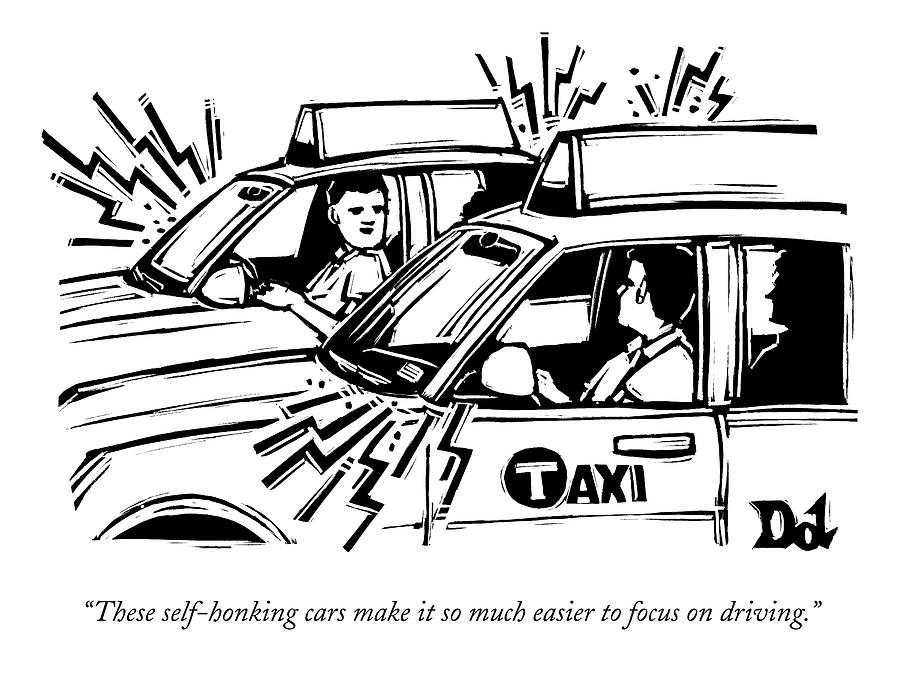 Two Cab Drivers Speak To Each Other Drawing by Drew Dernavich