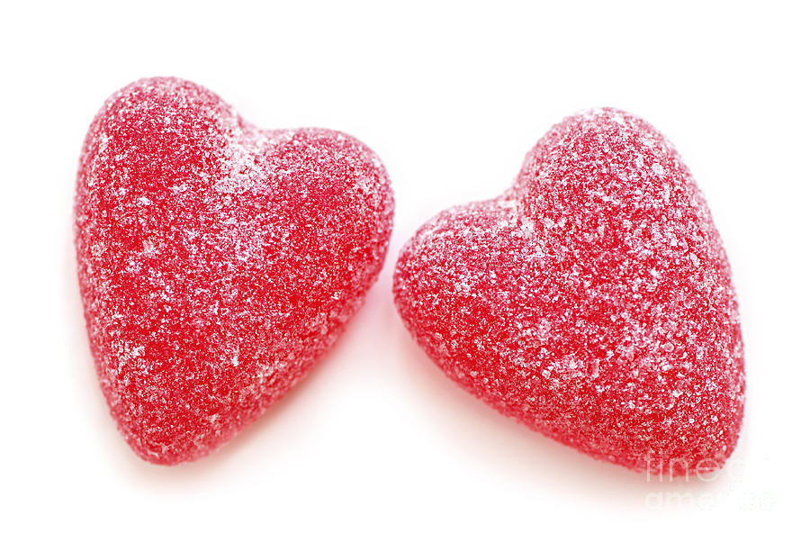 Heart Photograph - Two Candy Hearts by Elena Elisseeva
