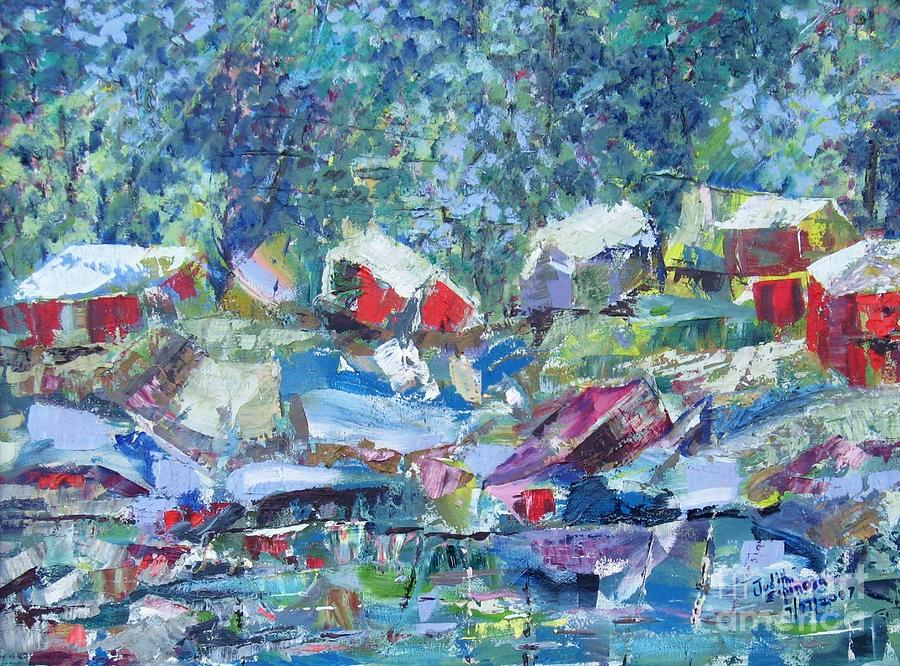 Landscape Painting - Two Canoes - Sold by Judith Espinoza