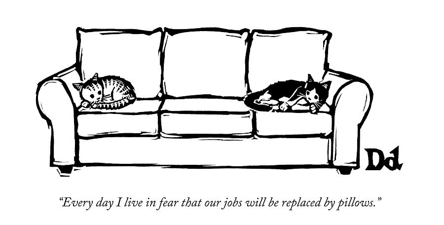 Two Cats Curl Up At Each End Of A Sofa Drawing by Drew Dernavich