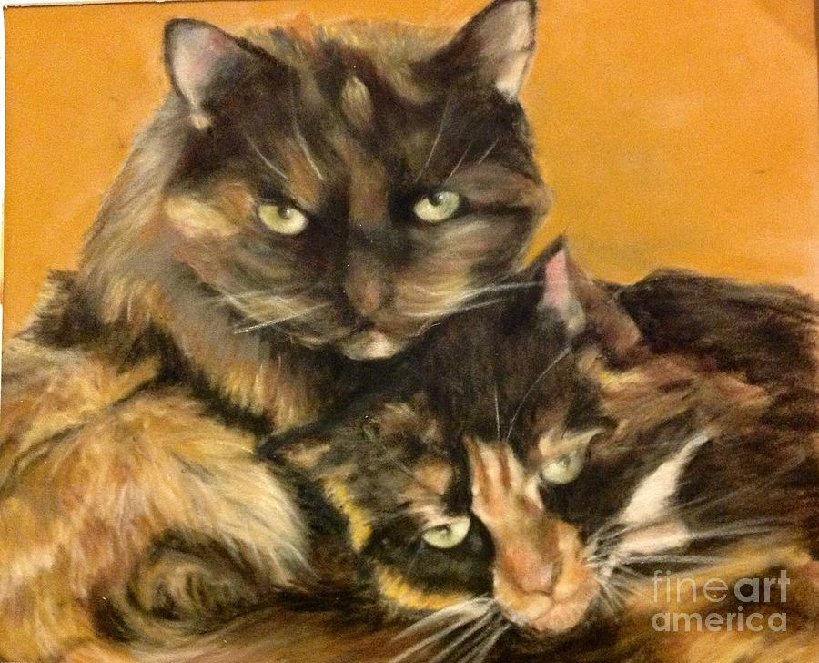Cat Painting - Two Cats by Tanya Patey