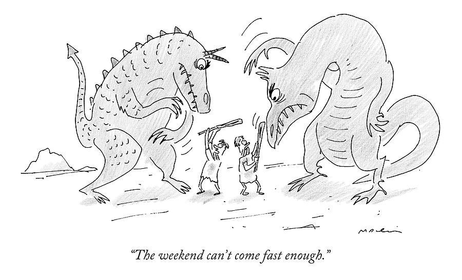 Cavemen Drawing - Two Cavemen Fight Dinosaurs by Michael Maslin
