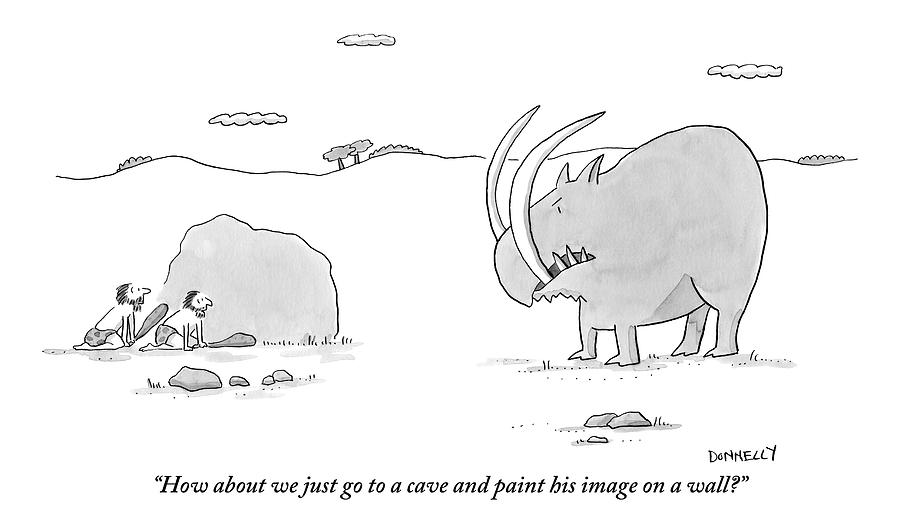 Two Cavemen Out Hunting Hide Behind A Rock Drawing by Liza Donnelly
