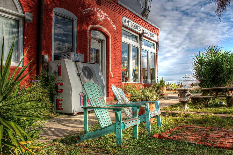 Apalachicola Photograph - Two Chairs Around The Corner From The Old Stuff Shop by Lynn Jordan