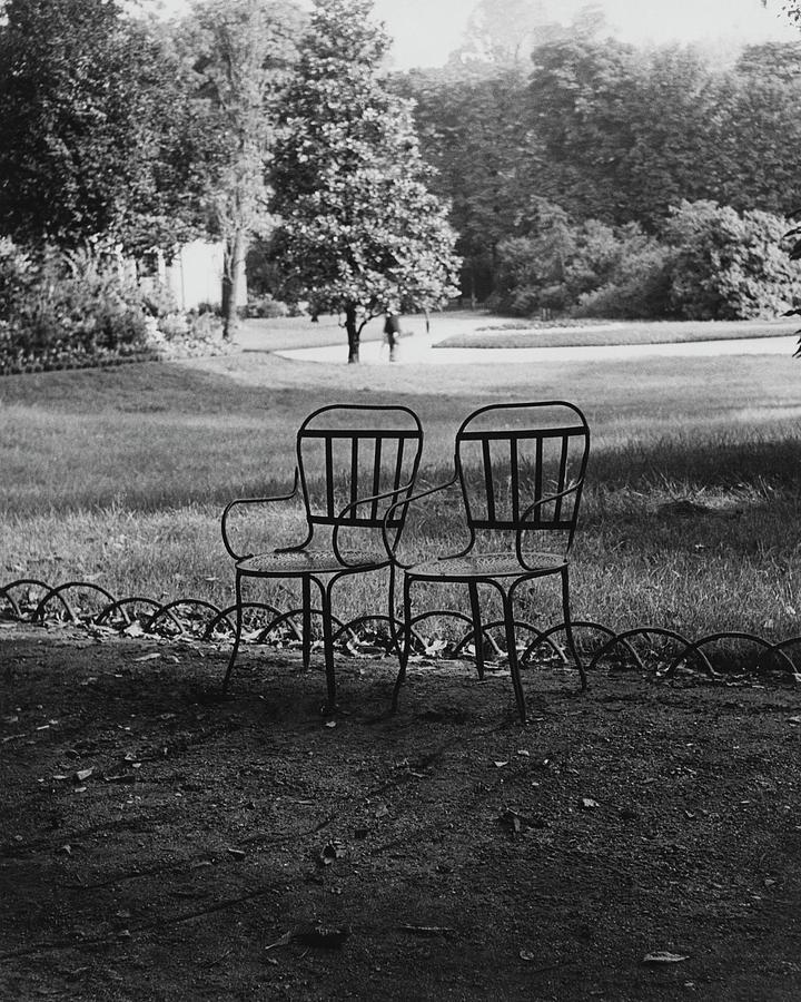 Two Chairs Near The Champs Elysees Photograph by Erwin Blumenfeld