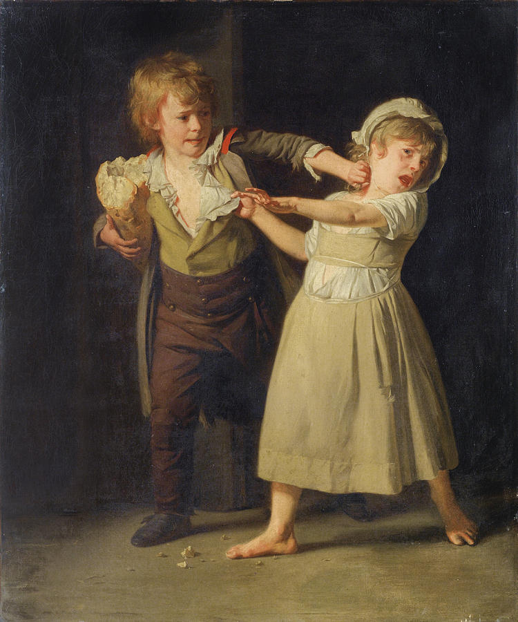 Henri-pierre Danloux Painting - Two Children Fighting Over A Piece Of Bread by Henri-Pierre Danloux