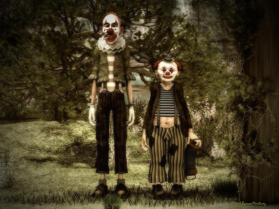 Clowns Digital Art - Two Clowns In The Forest. by Ramon Martinez