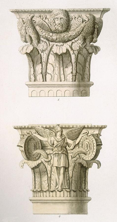 Architecture Drawing - Two Column Capitals by English School