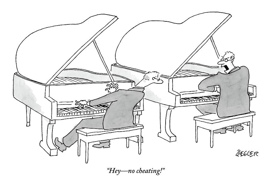Two Concert Pianists Play Side-by-side Drawing by Jack Ziegler