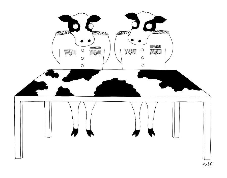Two Cows In Military Dress Looking At A Map Table Drawing by Seth Fleishman