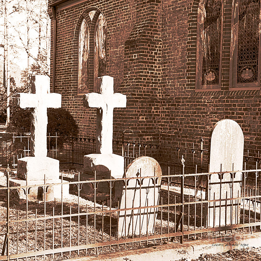 Saint Lukes Church Photograph - Two Crosses In Saint Lukes  by Artist and Photographer Laura Wrede