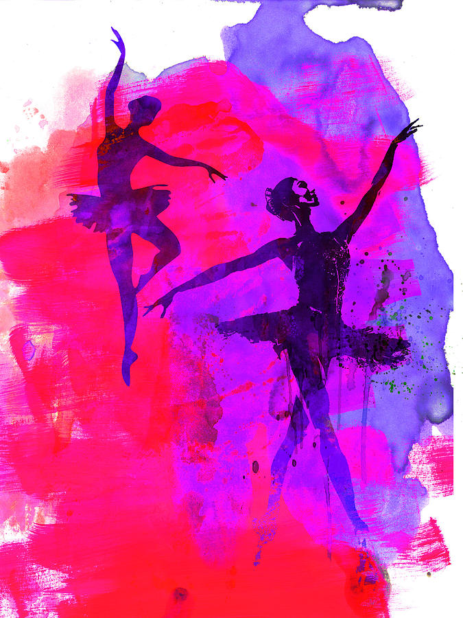 Ballet Painting - Two Dancing Ballerinas 3 by Naxart Studio
