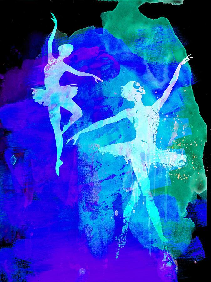 Ballet Painting - Two Dancing Ballerinas  by Naxart Studio