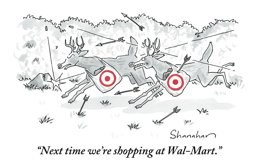 Two Deer With Red Target Shopping Bags Dodge Drawing by Danny Shanahan