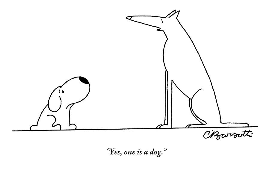 Two Dogs Are Seen Speaking With One Another Drawing by Charles Barsotti