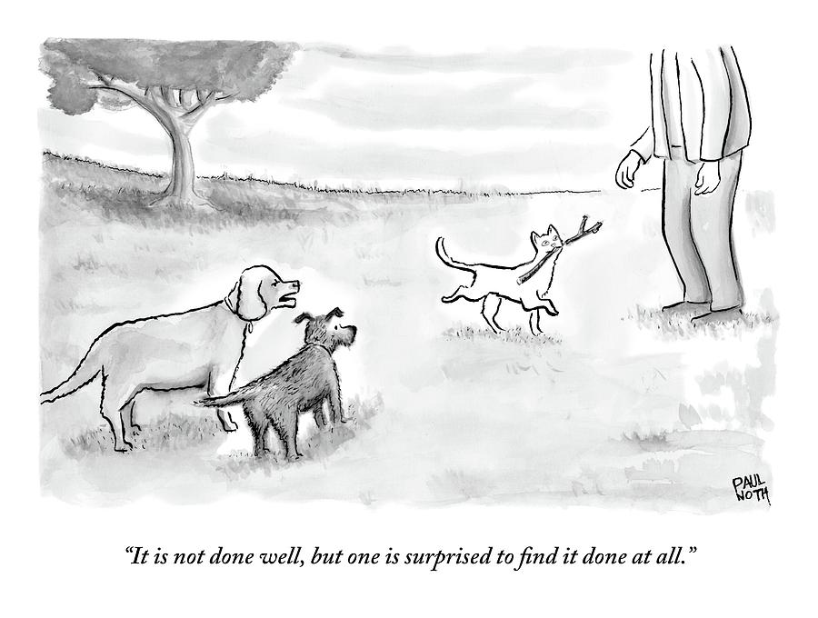 Two Dogs Criticize A Cat Who Has Just Retrieved Drawing by Paul Noth