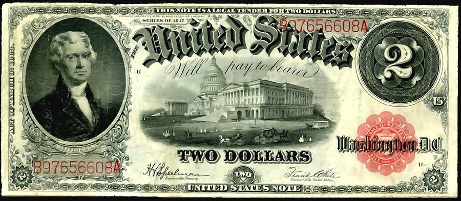 Old Painting - Two Dollar 1917 United States Note Fr60 by Lanjee Chee