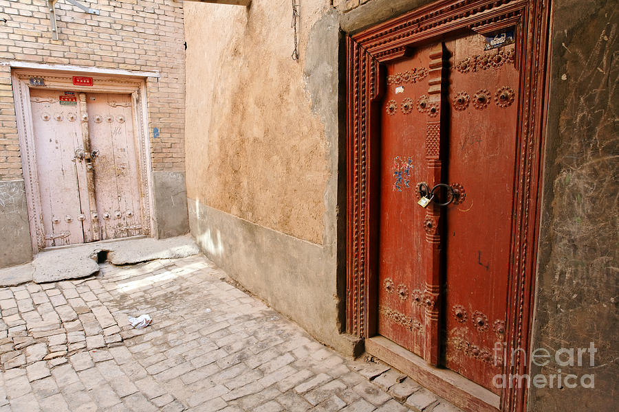 Kashgar Photograph - Two Doors In The Old Town Of Kashgar by Robert Preston