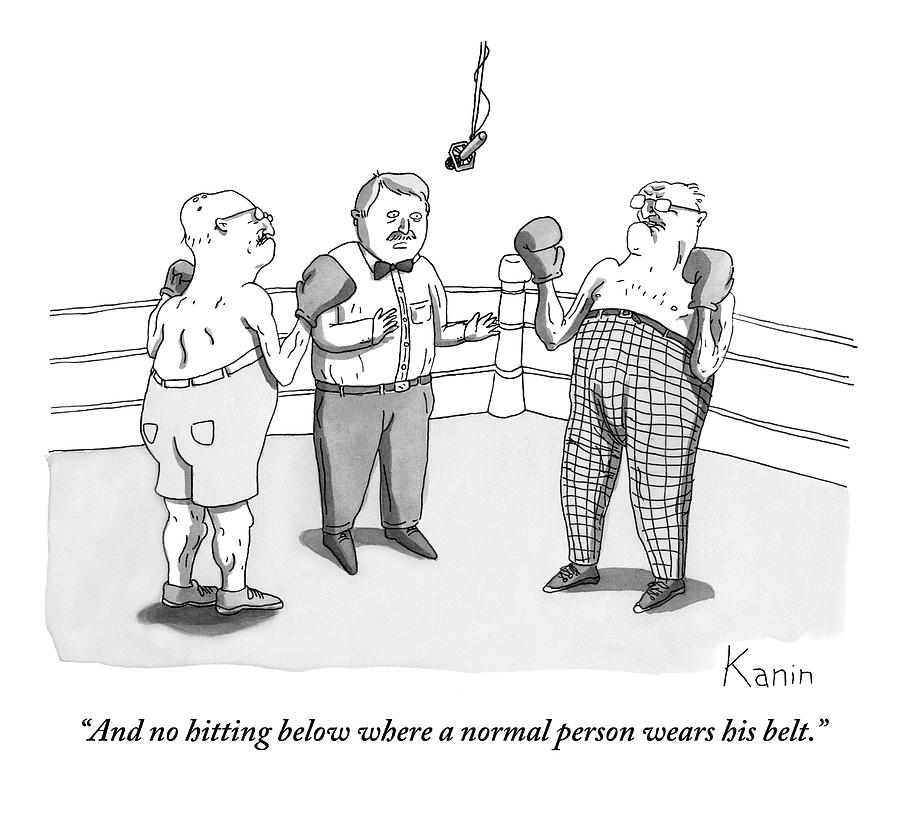 Two Elderly Men Meet In A Boxing Ring Drawing by Zachary Kanin