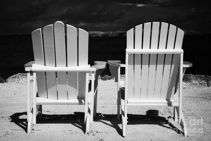 Two Photograph - Two Empty Sun Loungers On Private Beach Islamorada Florida Keys Usa by Joe Fox