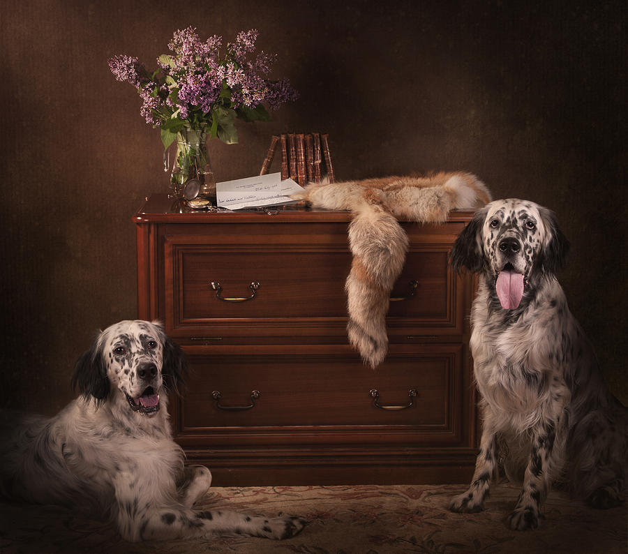 Still Life Painting - Two English Setters... by Tanya Kozlovsky