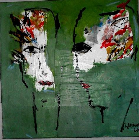 Two faces Painting by Ramon Menocal