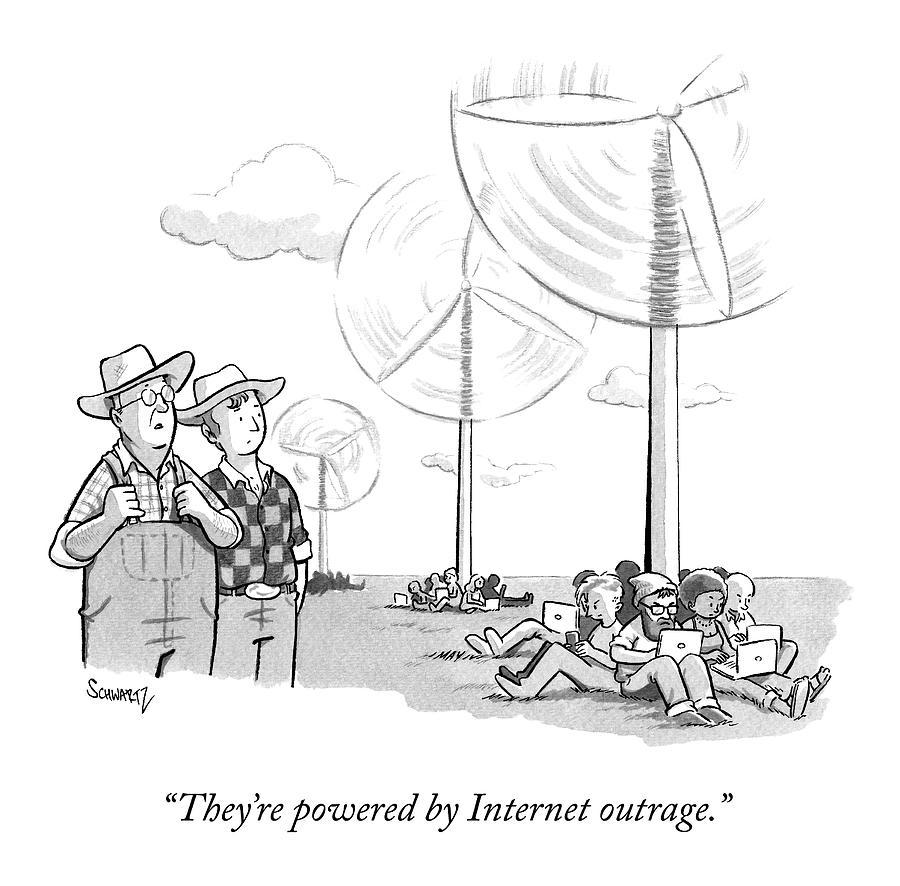 Two Farmers Overlook Wind Fans Drawing by Benjamin Schwartz