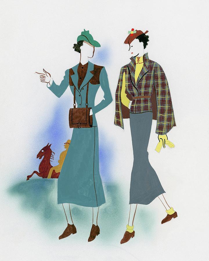 Two Fashionable Women Walking In Park Digital Art by Raymond de Lavererie