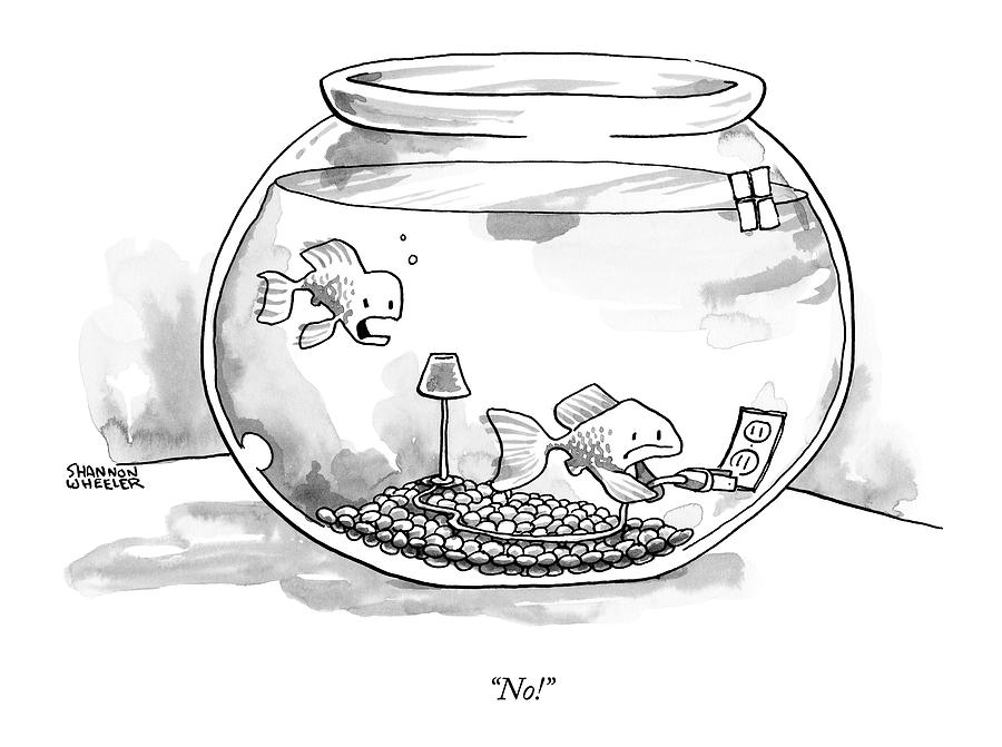 Two Fish Are In A A Fish Bowl. One Drawing by Shannon Wheeler