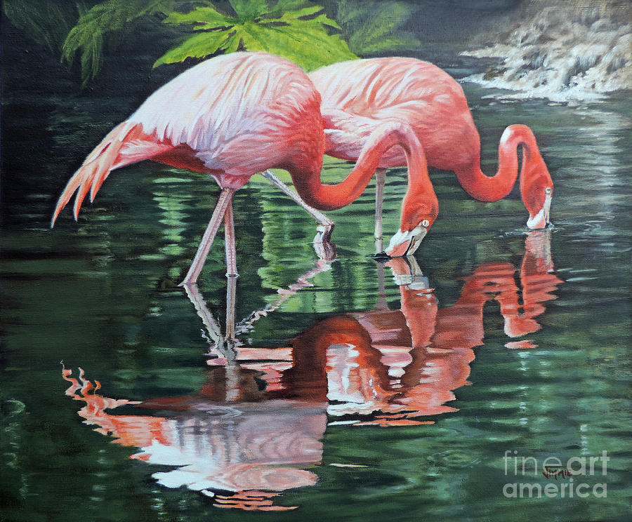 Flamingos Painting - Two Flamingos by Jimmie Bartlett