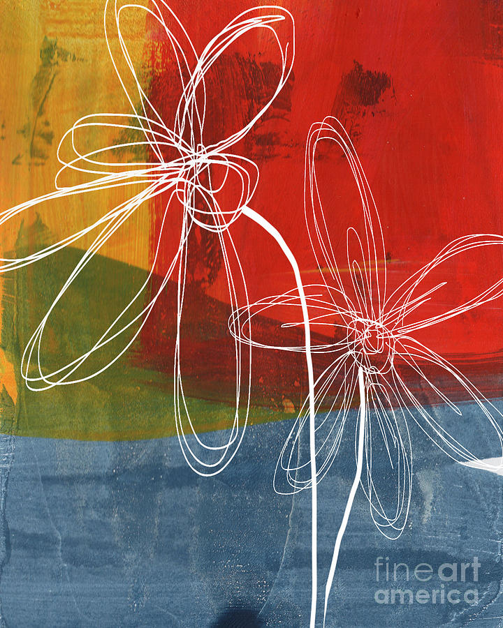 Abstract Painting - Two Flowers by Linda Woods