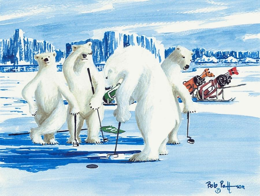 Polar Bears Painting - Two Foot Putt by Bob Patterson