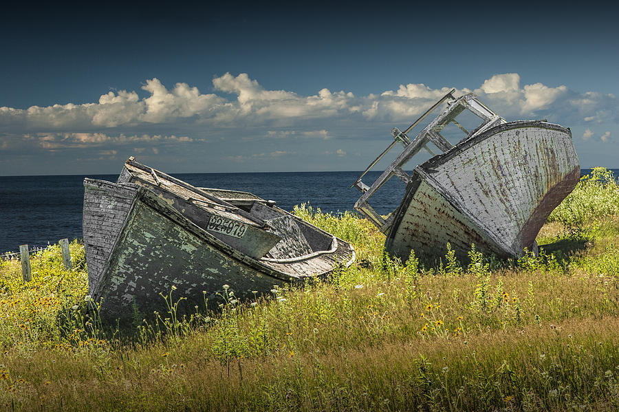 Two Forlorn Abandoned Boats On Prince Edward Island Photograph