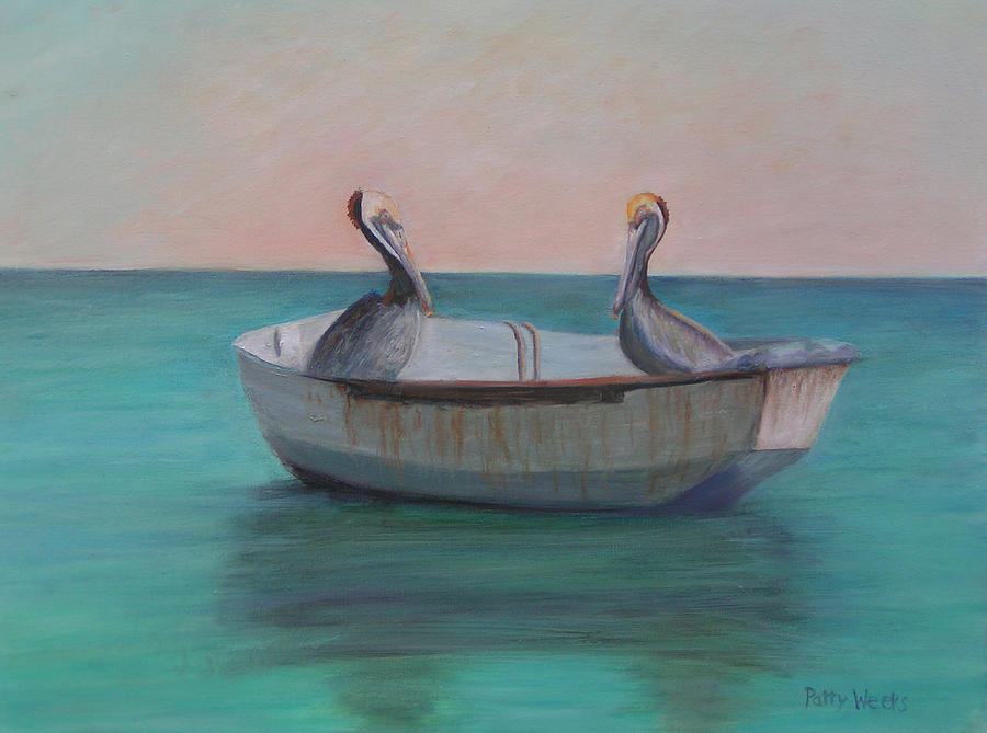 Pelican Painting - Two Friends In A Dinghy by Patty Weeks