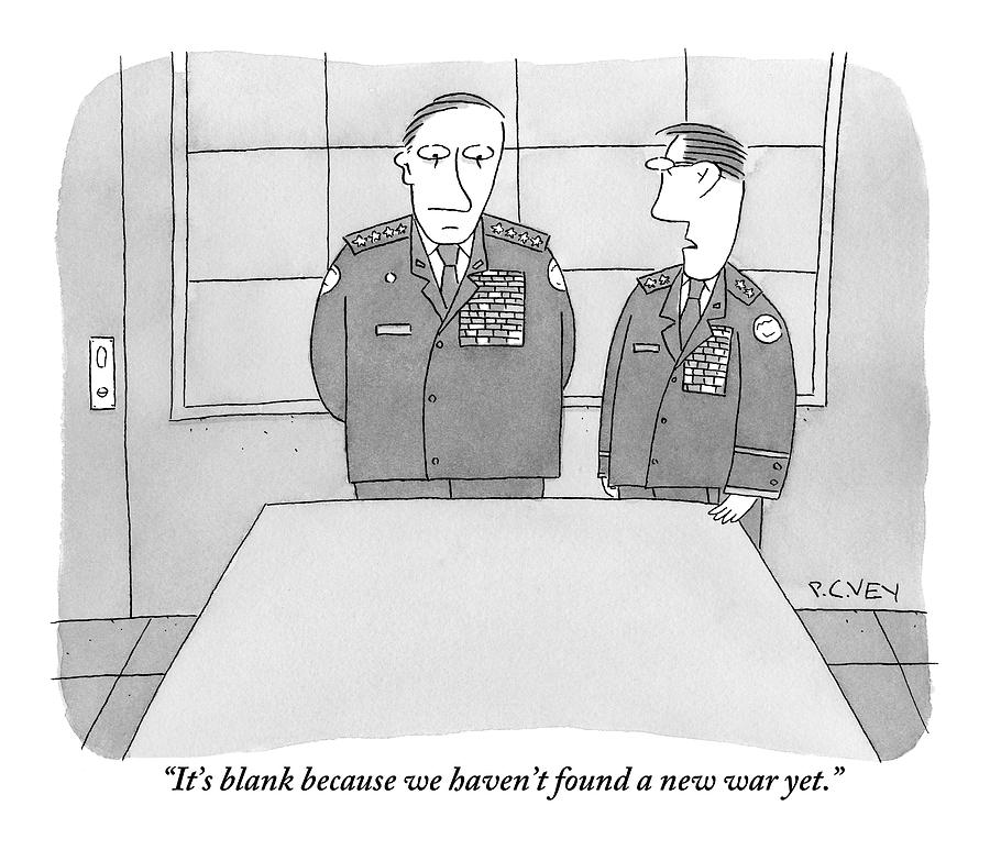 Two Generals Speak While Looking At A Blank Map Drawing by Peter C. Vey