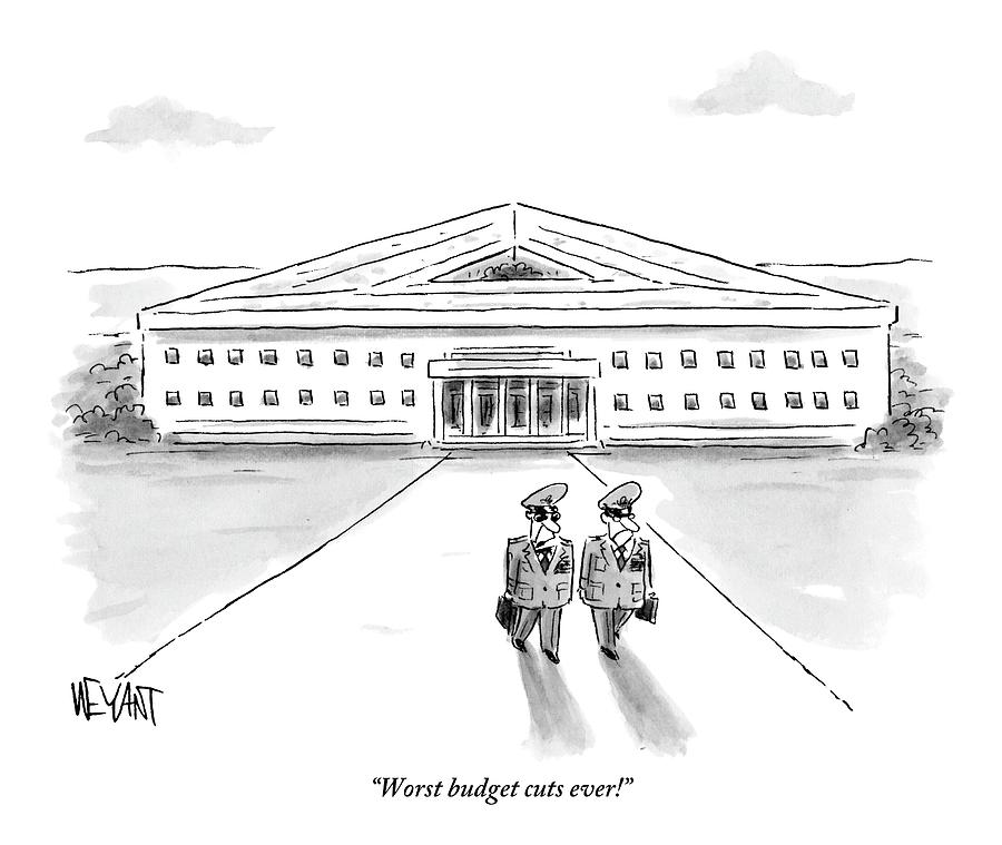 Two Generals Walking Away From The Pentagon Drawing by Christopher Weyant