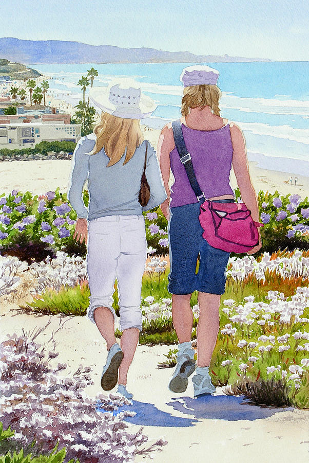 Landscape Painting - Two Girls At Dog Beach Del Mar by Mary Helmreich
