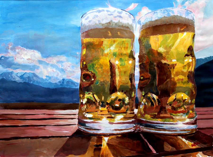 Beer Painting - Two Glasses Of Beer With Mountains by M Bleichner