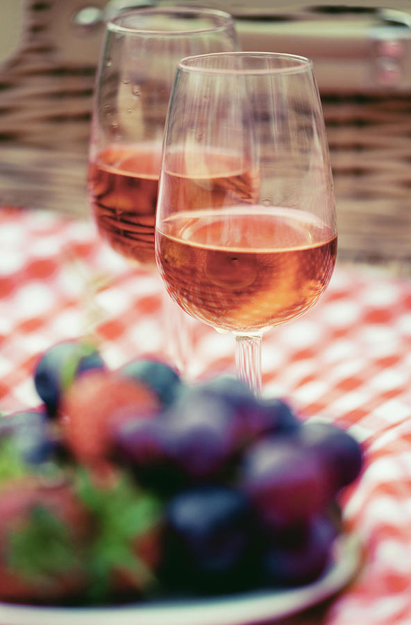 Two Glasses Of Rose At Picnic Photograph by Guido Mieth
