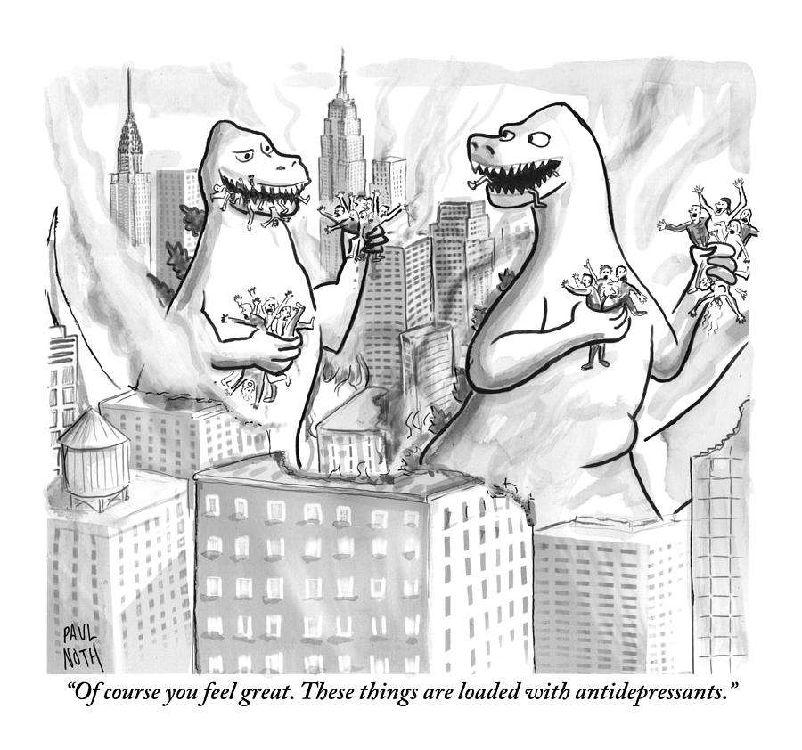 Two Godzillas Talk To Each Other Drawing by Paul Noth