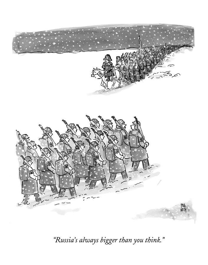 Two Groups Of Army Troops Walk In Opposite Drawing by Paul Noth