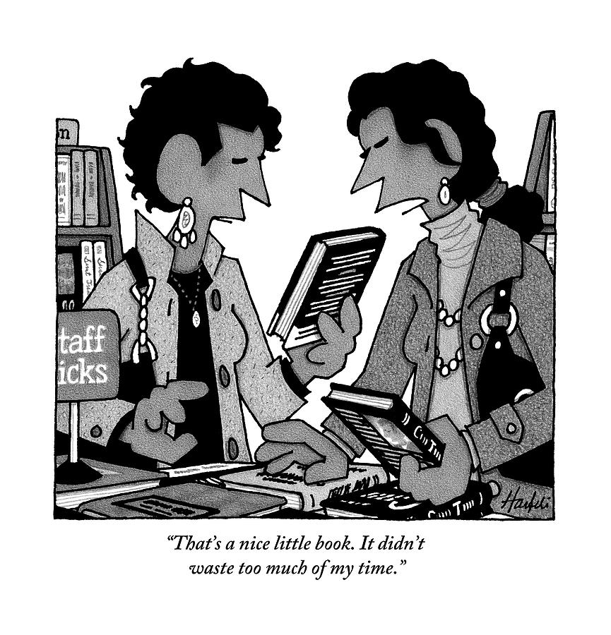 Two Guys Discuss The Value Of Books At A Library Drawing by William Haefeli