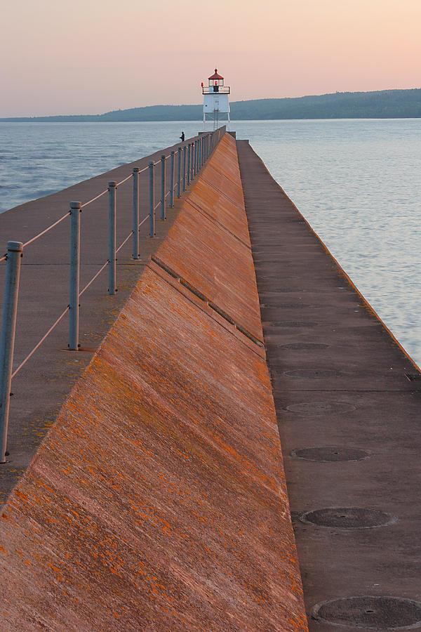 Two Photograph - Two Harbors Mn Pier Light 6 by John Brueske