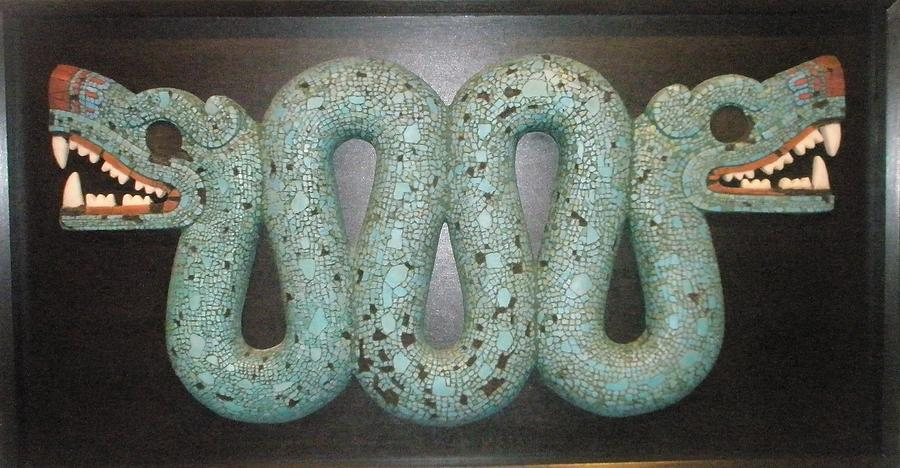 Ancient Reliefs Sculpture - Two-headed Snake. by Jose Manuel Solares
