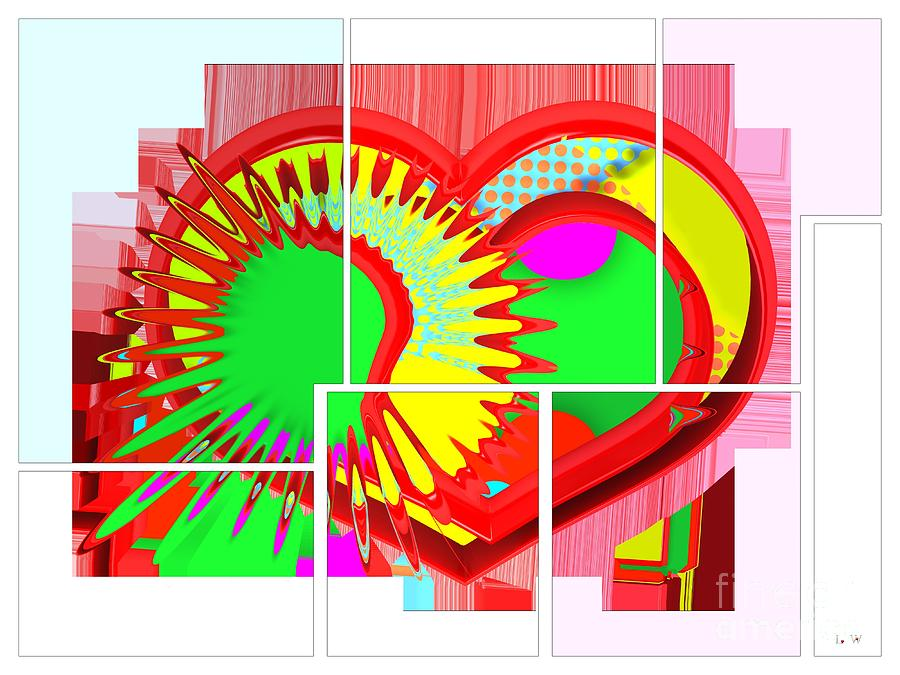 Abstract Digital Art - Two Hearts Are Better Than One by Liane Wright