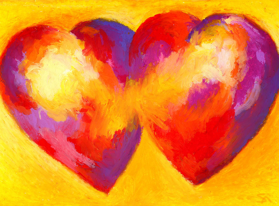 Hearts Painting - Two Hearts Beat As One by Stephen Anderson