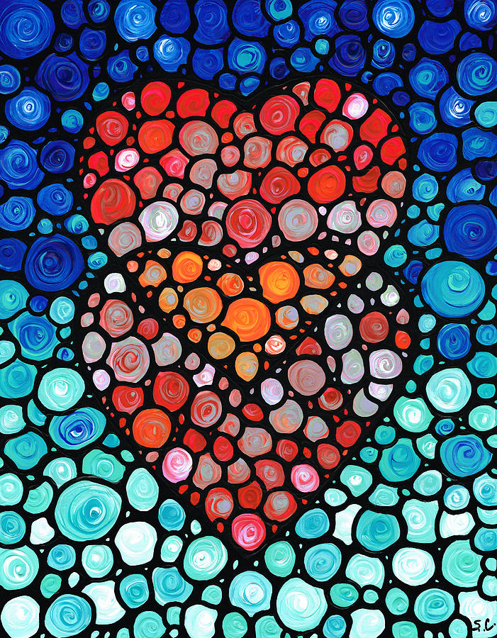 Two Hearts Mosaic Art By Sharon Cummings Painting By