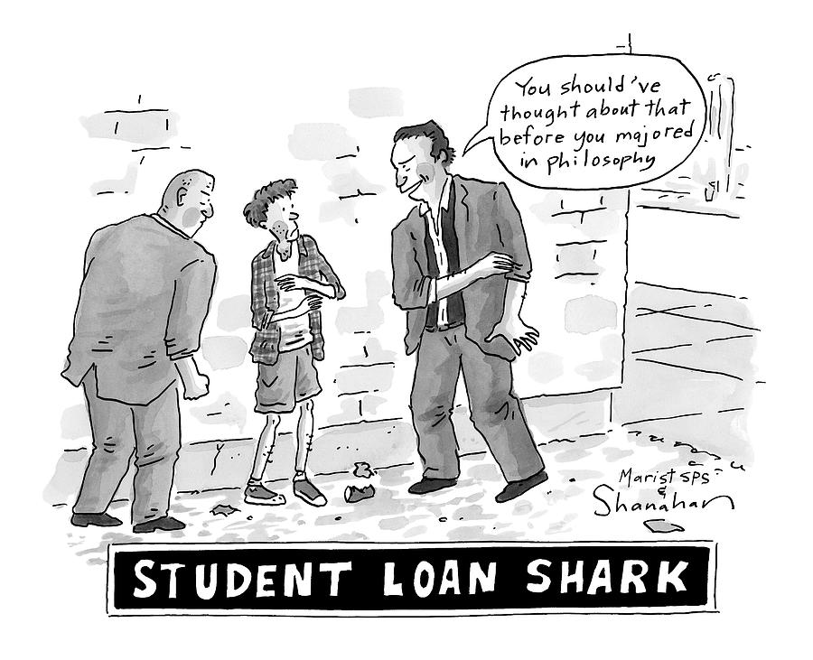 Two Henchman -- Student Loan Sharks -- Approach Drawing by Danny Shanahan
